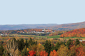 Fall landscape,  view of Church in St-Jean-de-Matha  Quebec