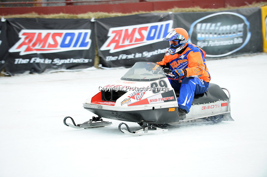 Classic Vintage snowmobile racing at World Championship Snowmobile Derby track in Eagle River, January 2010.
