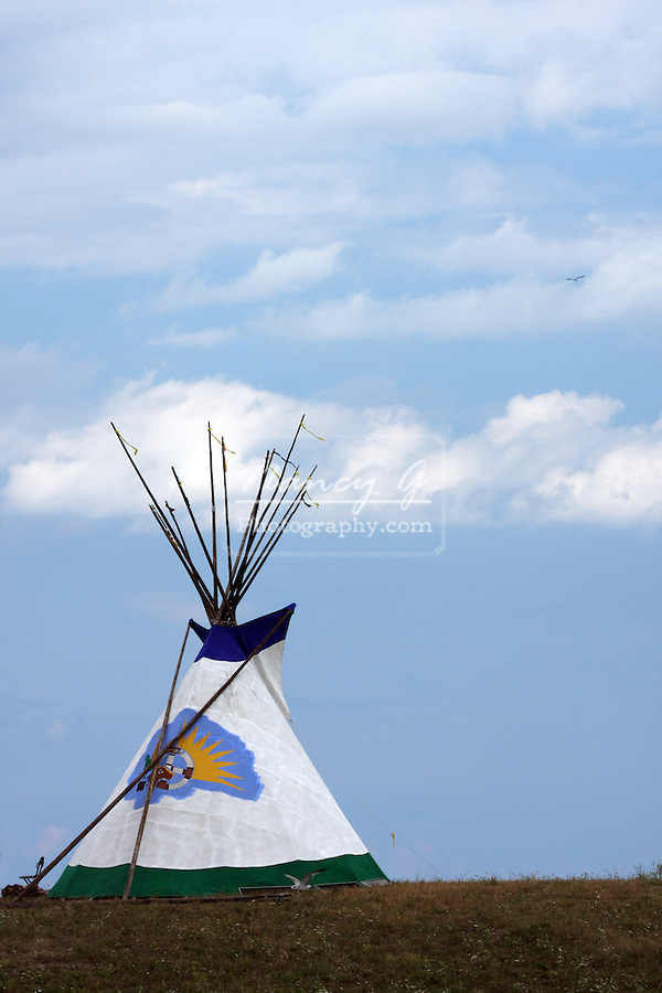 A tipi on the shoreline of Lake Michigan at the Milwaukee Lakefront Indian Summer Festival, Wisconsin