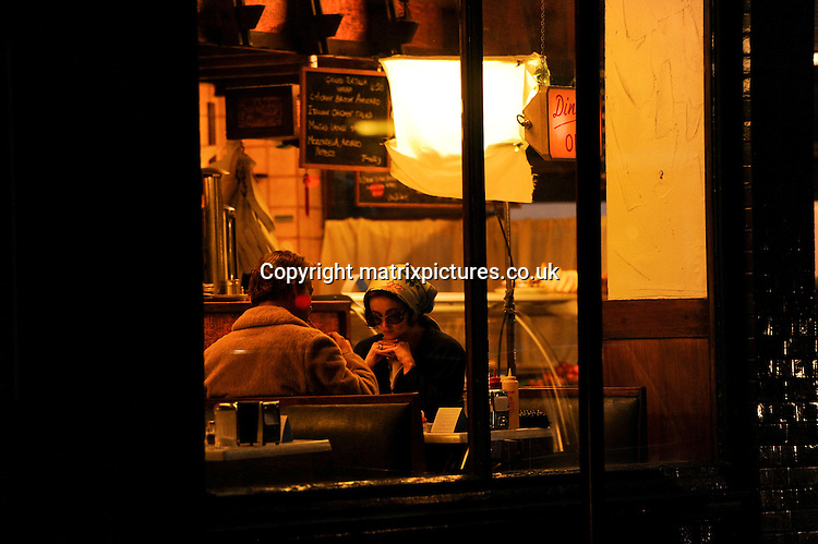"NON EXCLUSIVE  PICTURE: MATRIXPICTURES.CO.UK.PLEASE CREDIT ALL USES..WORLD RIGHTS..English actress Helena Bonham Carter and actor Dominic West are spotted filming scenes for ""Burton And Taylor"", a BBC drama about the final days of Liz Taylor's relationship with Richard Burton...The set in central London is designed to resemble a New York diner...APRIL 18th 2013..REF: PSE 132566"