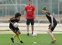 20180304 - LARNACA , CYPRUS :  Belgian Kassandra Missipo pictured in a duel with Heleen Jaques (r) during a Matchday -1 training from The Belgian Red Flames prior to their game against Austria , on Sunday 4 March 2018 at the Alpha Sports Grounds in Larnaca , Cyprus . This will be the third game in group B for Belgium during the Cyprus Womens Cup , a prestigious women soccer tournament as a preparation on the World Cup 2019 qualification duels. PHOTO SPORTPIX.BE | DAVID CATRY