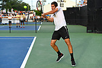WINSTON SALEM, NC - MAY 22: Borna Gojo of the Wake Forest Demon Deacons hits a return against the Ohio State Buckeyes during the Division I Men's Tennis Championship held at the Wake Forest Tennis Center on the Wake Forest University campus on May 22, 2018 in Winston Salem, North Carolina. Wake Forest defeated Ohio State 4-2 for the national title. (Photo by Jamie Schwaberow/NCAA Photos via Getty Images)