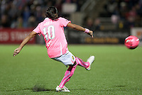Marta takes the free kick. FC Gold Pride tied the Chicago Red Stars 0-0 in PUMA's Project Pink, Think Pink, Breast Cancer Awareness game at Pioneer Stadium in Hayward, California on August 7th, 2010.