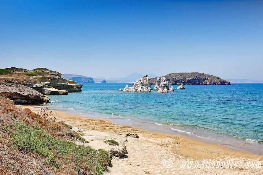 The beach Mavrospilia in Kimolos, Greece