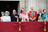 Queen, Prince Phillip, Catherine Duchess of Cambridge, Princess Charlotte, Prince George, Prince William<br /> on the balcony of Buckingham Palace during Trooping the Colour on The Mall, London. <br /> <br /> <br /> &copy;Ash Knotek  D3283  17/06/2017