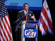 Washington, DC - January 11, 2014:  D.C. Mayor Vincent C. Gray speaks to supporters during his 2014 campaign kick-off at THEARC in southeast D.C. (Photo by Don Baxter/Media Images International)