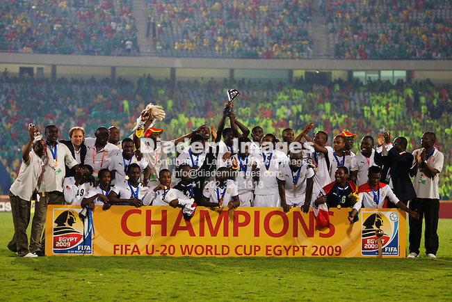 CAIRO - OCTOBER 16:  Ghana players and coaches celebrate after defeating Brazil on penalty kicks to win the 2009 FIFA U-20 World Cup at Cairo International Stadium on October 16, 2009 in Cairo, Egypt.  Editorial use only.  No pushing to mobile device usage.  Commercial use prohibited.  (Photograph by Jonathan Paul Larsen)
