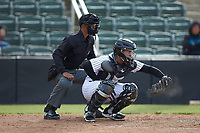 Kannapolis Intimidators catcher Carlos Perez (8) frames a pitch as home plate umpire Harley Acosta looks on during the game against the Lakewood BlueClaws at Kannapolis Intimidators Stadium on April 8, 2018 in Kannapolis, North Carolina.  The Intimidators defeated the BlueClaws 4-3 in game two of a double-header.  (Brian Westerholt/Four Seam Images)
