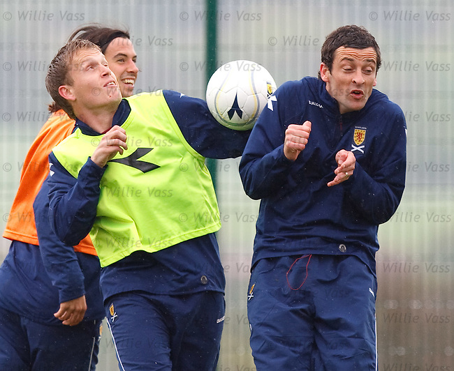 Stevie Hammell and Jack Ross miss the ball at training for a laugh