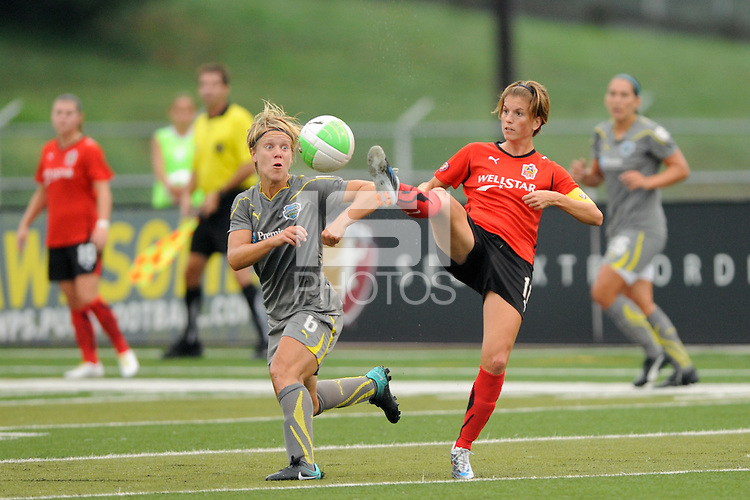 Angie Kerr (11) of the Atlanta Beat plays the ball. The Philadelphia Independence defeated the Atlanta Beat 3-2 during a Women's Professional Soccer (WPS) match at John A. Farrell Stadium in West Chester, PA, on August 15, 2010.
