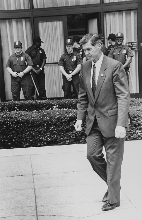Rep. Donald Buz Lukens, R-Ohio walking out of Chinese Embassy on June 22, 1989. (Photo by Maureen Keating/CQ Roll Call)