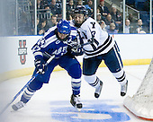 Derrick Burnett (Air Force - 17), Mike Matczak (Yale - 7) - The Yale University Bulldogs defeated the Air Force Academy Falcons 2-1 (OT) in their East Regional Semi-Final matchup on Friday, March 25, 2011, at Webster Bank Arena at Harbor Yard in Bridgeport, Connecticut.