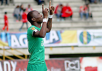 TUNJA -COLOMBIA, 19-09-2015. Wason Renteria jugador de La Equidad celebra un gol anotado a Patriotas FC durante partido por la fecha 13 de la Liga Postobón II 2014 realizado en el estadio La Independencia de Tunja./ Wason Renteria player of La Equidad celebrates a goal against Patriotas FC during match for the 13th date of Postobon  League II 2014 played at  La Independencia stadium in Tunja. Photo: VizzorImage/César Melgarejo/STR