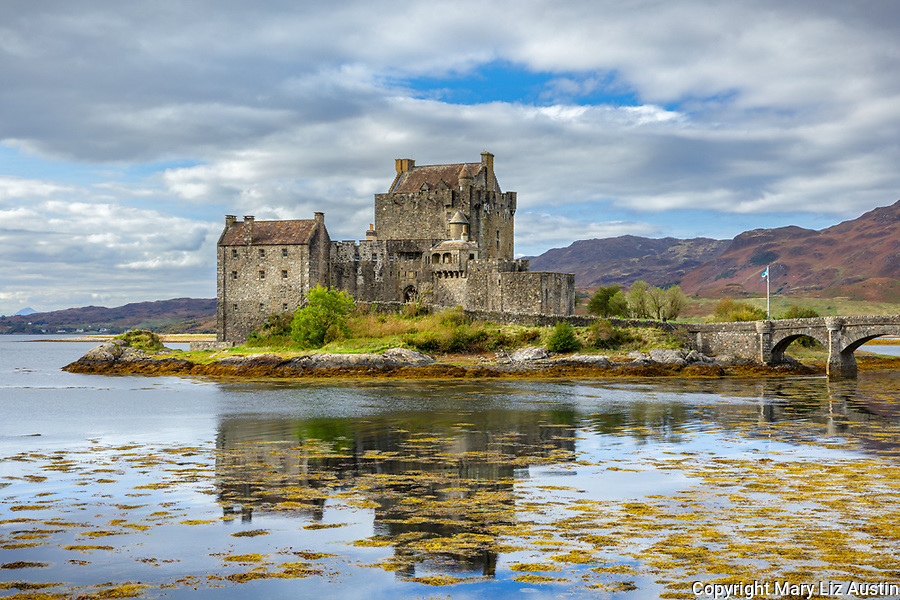 Western Highlands, Scotland:<br /> Eilean Donan Castle and reflections, Kyle of Lochalsh, Kintail National Scenic Area
