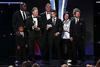 LOS ANGELES - JUNE 2: Akbar Gbaja-Biamila, from left, Matt Iseman, Kent Weed, Brian Richardson, Kristen Stabile, Arthur Smith and Anthony Storm accept the Sports Show award onstage during the Critics' Choice Real TV Awards at the Beverly Hilton on June 2, 2019 in Beverly Hills, California. (Photo by Willy Sanjuan/PictureGroup)