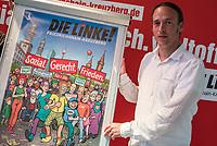 Praesentation eines Wahlplakates der Partei DIE LINKE am Mittwoch den 30. August 2017, welches durch den Karikaturisten Gerhard Seyfried fuer den Direktkandidaten zur Bundestagswahl 2017 der Partei DIE LINKE fuer den Berliner Bezirk Friedrichshain-Kreuzberg, Pascal Meiser (im Bild), gestaltet wurde.<br /> 30.8.2017, Berlin<br /> Copyright: Christian-Ditsch.de<br /> [Inhaltsveraendernde Manipulation des Fotos nur nach ausdruecklicher Genehmigung des Fotografen. Vereinbarungen ueber Abtretung von Persoenlichkeitsrechten/Model Release der abgebildeten Person/Personen liegen nicht vor. NO MODEL RELEASE! Nur fuer Redaktionelle Zwecke. Don't publish without copyright Christian-Ditsch.de, Veroeffentlichung nur mit Fotografennennung, sowie gegen Honorar, MwSt. und Beleg. Konto: I N G - D i B a, IBAN DE58500105175400192269, BIC INGDDEFFXXX, Kontakt: post@christian-ditsch.de<br /> Bei der Bearbeitung der Dateiinformationen darf die Urheberkennzeichnung in den EXIF- und  IPTC-Daten nicht entfernt werden, diese sind in digitalen Medien nach §95c UrhG rechtlich geschuetzt. Der Urhebervermerk wird gemaess §13 UrhG verlangt.]