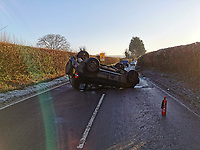 "BNPS.co.uk (01202 558833)<br /> Pic: DWFRS/BNPS<br /> <br /> The emergency services are warning motorists to scrape their windscreens on frosty mornings after the driver of this 4x4 came a cropper.<br /> <br /> The Mitsubishi Shogun suddenly flipped over as its driver lost control as they travelled into the low sun on the A3030 at Alweston, Dorset.<br /> <br /> The male passenger suffered a head injury in the crash and was treated at the scene by an ambulance drew.<br /> <br /> The female driver was uninjured. <br /> <br /> A spokesman for Dorset & Wiltshire Fire Service said: ""With the cold mornings drivers should ensure they leave extra time for journeys and ensure their windscreen is fully cleared."""