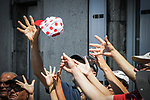 Hands outstretched for the publicity caravan ahead of the race during Stage 2 of the 2018 Tour de France running 182.5km from Mouilleron-Saint-Germain to La Roche-sur-Yon, France. 8th July 2018. <br /> Picture: ASO/Bruno Bade | Cyclefile<br /> All photos usage must carry mandatory copyright credit (&copy; Cyclefile | ASO/Bruno Bade)