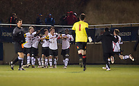 Dan Metzger (7) and his Maryland teammates celebrate after the game at the Maryland SoccerPlex in Germantown, MD. Maryland defeated Clemson, 1-0, in overtime.  With the win the Terrapins advanced to the finals of the ACC men's soccer tournament.