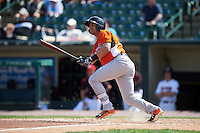 Norfolk Tides outfielder Dariel Alvarez (26) at bat during a game against the Rochester Red Wings on May 3, 2015 at Frontier Field in Rochester, New York.  Rochester defeated Norfolk 7-3.  (Mike Janes/Four Seam Images)