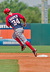 20 March 2015: Washington Nationals outfielder Bryce Harper rounds the bases after hitting a solo home run during Spring Training action against the Houston Astros at Osceola County Stadium in Kissimmee, Florida. The Nationals defeated the Astros 7-5 in Grapefruit League play. Mandatory Credit: Ed Wolfstein Photo *** RAW (NEF) Image File Available ***