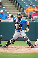 Akron RubberDucks catcher Eric Haase (13) throws to second base during the first game of a doubleheader against the Bowie Baysox on June 5, 2016 at Prince George's Stadium in Bowie, Maryland.  Bowie defeated Akron 6-0.  (Mike Janes/Four Seam Images)