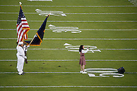 16 September 2006: Thia Megia sings the national anthem during Stanford's 37-9 loss to Navy during the grand opening of the new Stanford Stadium in Stanford, CA.