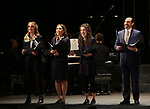 "Helen Hunt, Andrea Burns, Tessa Grady and Javier Munoz during the Opening Night performance bows for ENCORES! Off-Center production of ""Working - A Musical""  at New York City Center on June 26, 2019 in New York City."
