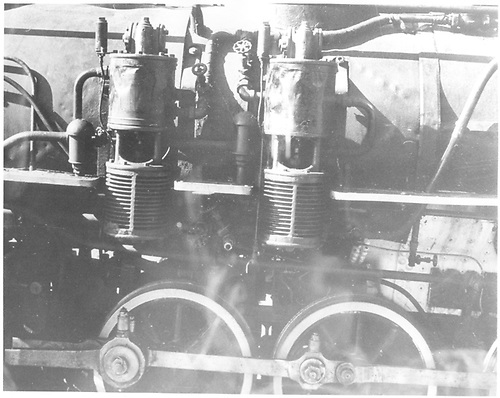 Detail of left-side air pumps and drivers.  (Dorman arranged this picture with the rest of #278 pictures.)<br /> D&amp;RGW
