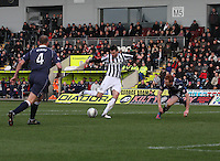 Steven Thompson shoots to score in the St Mirren v Ross County Clydesdale Bank Scottish Premier League match played at St Mirren Park, Paisley on 19.1.13.