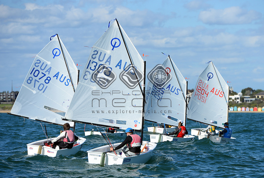 Optimist / FLEET RACING ACTION<br /> 2013 ISAF Sailing World Cup - Melbourne<br /> Sail Melbourne - The Asia Pacific Regatta<br /> Sandringham Yacht Club, Victoria<br /> December 1st - 8th 2013<br /> &copy; Sport the library / Jeff Crow