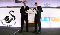 Pictured L-R: Paul Fox, CEO of Letou with Chris Pearlman, COO of Swansea City FC. Monday 19 June 2017<br />Re: Swansea City FC launch their new home and away kits and announce Letou as their new sponsor at the Liberty Stadium, Swansea, Wales, UK.