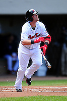 Pawtucket Red Sox right fielder Bryce Brentz (25) during a game versus the Syracuse Chiefs at McCoy Stadium in Pawtucket, Rhode Island on April 30, 2015.  (Ken Babbitt/Four Seam Images)