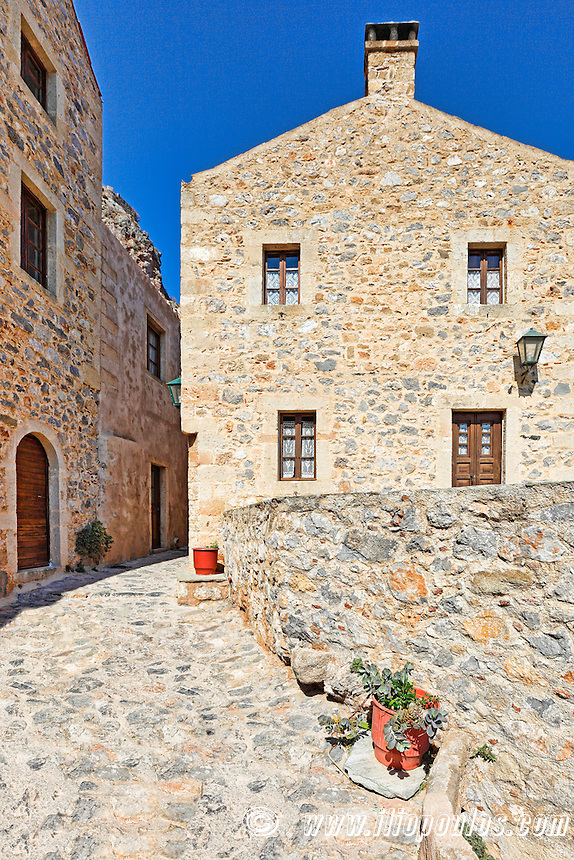 An alley in the Byzantine castle-town of Monemvasia in Greece