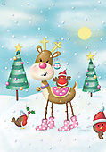 Sharon, CHRISTMAS ANIMALS, WEIHNACHTEN TIERE, NAVIDAD ANIMALES, GBSS, paintings+++++,GBSSC50XJ3,#XA# ,raindeer