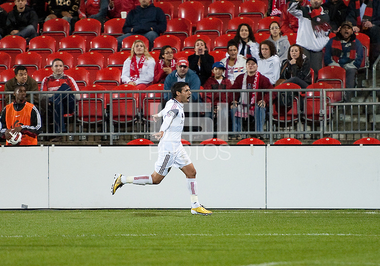 28 September 2010: Real Salt Lake midfielder Javier Morales #11 celebrates his equalizing goal in the 68th minute of the second half  during a CONCACAF Champions League game between Real Salt Lake and Toronto FC at BMO Field in Toronto..Final score was 1-1...
