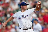 Round Rock Express starting pitcher Greg Reynolds #28 during the MLB exhibition baseball game against the Texas Rangers on April 2, 2012 at the Dell Diamond in Round Rock, Texas. The Rangers out-slugged the Express 10-8. (Andrew Woolley / Four Seam Images).