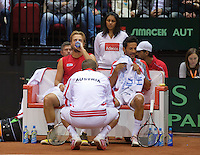 14-sept.-2013,Netherlands, Groningen,  Martini Plaza, Tennis, DavisCup Netherlands-Austria, Doubles,  Oliver Marach(L) and Philipp Oswald(AUT) on the bench with captain Clemens Trimmel <br /> Photo: Henk Koster