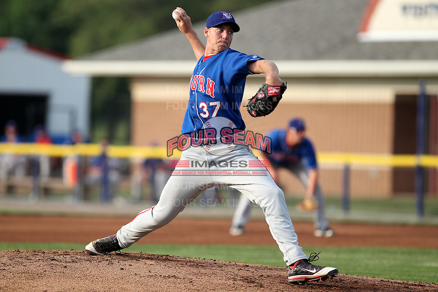Auburn Doubledays pitcher Taylor Jordan #37 delivers a pitch during a game against the Batavia Muckdogs at Dwyer Stadium on June 18, 2012 in Batavia, New York.  Auburn defeated Batavia 6-5.  (Mike Janes/Four Seam Images)