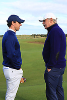 Rory McIlroy (NIR) chatting with Dermot Desmond (AM) on the 17th tee during Round 3 of the Alfred Dunhill Links Championship 2019 at St. Andrews Golf CLub, Fife, Scotland. 28/09/2019.<br /> Picture Thos Caffrey / Golffile.ie<br /> <br /> All photo usage must carry mandatory copyright credit (© Golffile | Thos Caffrey)
