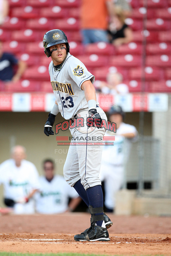 Burlington Bees infielder Joey Lewis (23) during a game vs. the Cedar Rapids Kernels at Veterans Memorial Stadium in Cedar Rapids, Iowa. June 19, 2010. Photo By Chris Proctor/Four Seam Images