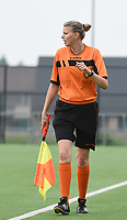 20181006 - DIKSMUIDE , BELGIUM : assistant referee Sarah Mostrey pictured during a soccer match between the women teams of Famkes Westhoek Diksmuide Merkem and KRC GENK B  , during the 3th matchday in the 2018-2019  Eerste klasse - First Division season, Saturday 6 October 2018 . PHOTO SPORTPIX.BE | DIRK VUYLSTEKE
