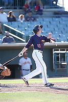 Johnny Sewald (11) of the Lancaster JetHawks bats against the San Jose Giants during the first game of a doubleheader at The Hanger on July 14, 2016 in Lancaster, California. Lancaster defeated San Jose, 3-0. (Larry Goren/Four Seam Images)