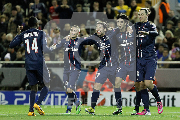 Paris Saint-Germain's Blaise Matuidi, Marco Verratti, Maxwell, Zlatan Ibrahimovic and Javier Pastore celebrate goal during Champions League 2012/2013 match.February 12,2013. (ALTERPHOTOS/Acero)