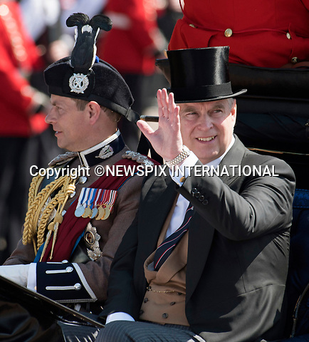 17.06.2017; London, UK: PRINCE ANDREW<br /> joined other members of the royal family for the Trooping The Colour to celebrate the Queen&rsquo;s 91st Official Birthday<br /> Royals present included the Duke of Edinburgh, Prince Charles and Camilla, Duchess of Cornwall, Prince William, Kate Middleton, Prince George; Princess Charlotte; Prince Harry, Prince Andrew; Princess Beatrice, Princess Eugenie, Prince Edward, Princess Anne, Zara Phillips &amp; Mike Tindal, Prince and Princess Michael Of Kent, Lady Helen Taylor, Duke of Kent, Duke of Gloucester and Duchess of Gloucester,Peter Phillips and Autumn and Lady Amelia Windsor.<br /> Mandatory Credit Photo: &copy;Joe Dias/NEWSPIX INTERNATIONAL<br /> <br /> IMMEDIATE CONFIRMATION OF USAGE REQUIRED:<br /> Newspix International, 31 Chinnery Hill, Bishop's Stortford, ENGLAND CM23 3PS<br /> Tel:+441279 324672  ; Fax: +441279656877<br /> Mobile:  07775681153<br /> e-mail: info@newspixinternational.co.uk<br /> Usage Implies Acceptance of OUr Terms &amp; Conditions<br /> Please refer to usage terms. All Fees Payable To Newspix International