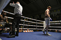 Ben Vickers (white shorts) defeats Tyrone Williams during a Boxing Show at York Hall on 15th February 2020