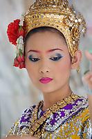 Dancer in traditional Thai costume, Erawan Shrine, Bangkok, Thailand