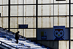 An early arrival in the Jimmy Frizzell Stand. Oldham v Portsmouth League 1
