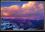 While you wait, freezing, look for small breaks in the clouds, to see if the sunshine might be able to break through, just before it sets. <br /> Winter sunset at Powell Point, Grand Canyon, Arizona. .  John offers private photo tours in Grand Canyon National Park and throughout Arizona, Utah and Colorado. Year-round.