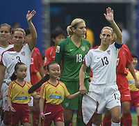 USA captain Kristine Lilly. The United States (USA) and North Korea (PRK) played to a 2-2 tie during a FIFA Women's World Cup China 2007 opening round Group B match at Chengdu Sports Center Stadium, Chengdu, China, on September 11, 2007.
